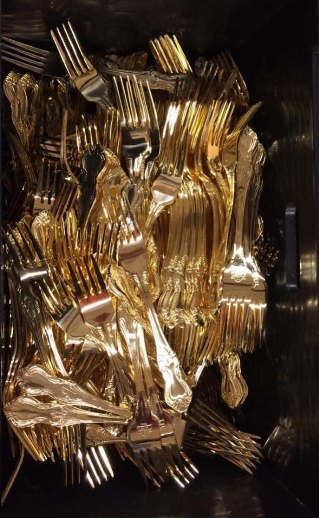 Gold Flatware In Crown Royal Alissa Rentals Allentown Pa