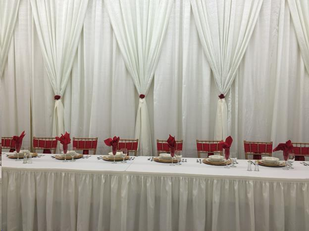 Where to find 12  Drape White Backdrop for Head Table in Allentown