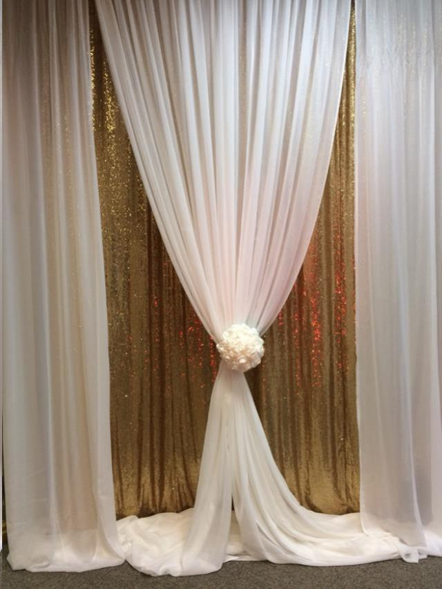 Where to find 10 x10  Drape Gold Sequin   White Sheer in Allentown