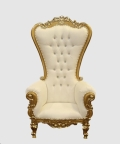 Rental store for Throne Chair, White with Gold Vintage in Allentown PA