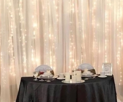 Rental store for 10 H x 10 W White Sheer Backdrop w  Twinkle Lights in Allentown PA