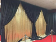 Rental store for 10 x10  Drape Gold Sequin   Black in Allentown PA