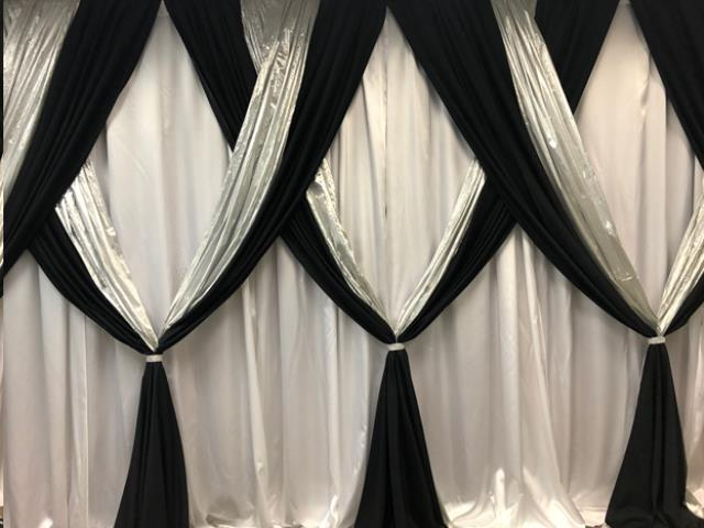 Where to find 10  Hi x 10  Drape White Satin w  Navy in Allentown