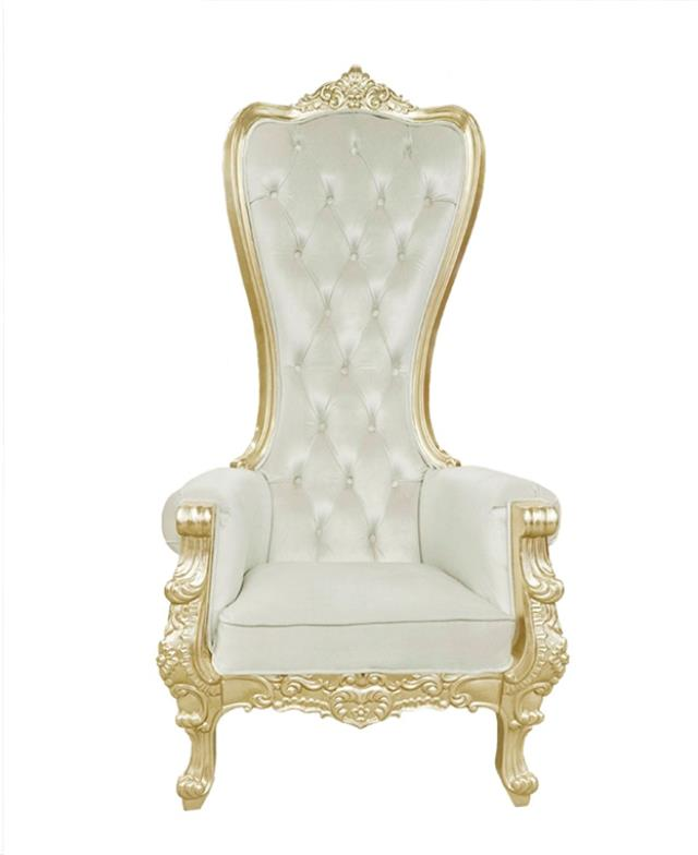 Where to find Throne Chair, White with Gold Shiny in Allentown