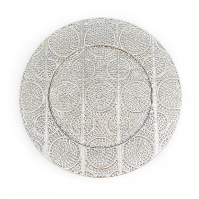 Where to find Charger Plate Silver 13  Metal Swirl in Allentown